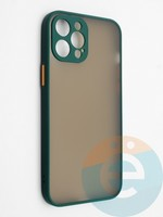 Накладка пластиковая с силиконовой окантовкой с защищенной камерой для iPhone 12 Pro Max зеленая