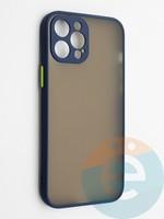Накладка пластиковая с силиконовой окантовкой с защищенной камерой для iPhone 12 Pro Max синяя