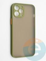 Накладка пластиковая с силиконовой окантовкой с защищенной камерой для iPhone 12 Pro Max хаки