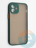 Накладка пластиковая с силиконовой окантовкой с защищенной камерой для iPhone 12 зеленая