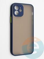 Накладка пластиковая с силиконовой окантовкой с защищенной камерой для iPhone 12 синяя