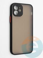 Накладка пластиковая с силиконовой окантовкой с защищенной камерой для iPhone 12 черная