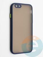 Накладка пластиковая с силиконовой окантовкой с защищенной камерой для iPhone 6/6S синяя