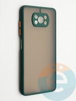 Накладка пластиковая с силиконовой окантовкой с защищенной камерой для Poco X3 зеленая