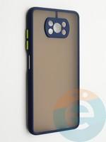 Накладка пластиковая с силиконовой окантовкой с защищенной камерой для Poco X3 синяя