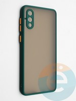 Накладка пластиковая с силиконовой окантовкой с защищенной камерой для Samsung Galaxy A02 зеленая