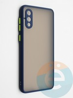 Накладка пластиковая с силиконовой окантовкой с защищенной камерой для Samsung Galaxy A02 синяя