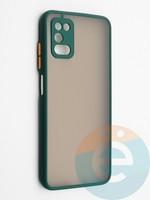 Накладка пластиковая с силиконовой окантовкой с защищенной камерой для Samsung Galaxy A03S зеленая