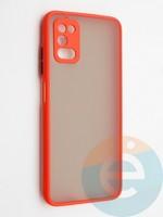 Накладка пластиковая с силиконовой окантовкой с защищенной камерой для Samsung Galaxy A03S красная