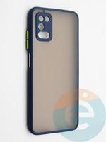 Накладка пластиковая с силиконовой окантовкой с защищенной камерой для Samsung Galaxy A03S синяя