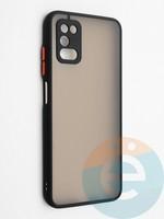 Накладка пластиковая с силиконовой окантовкой с защищенной камерой для Samsung Galaxy A03S черная