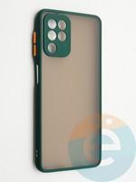 Накладка пластиковая с силиконовой окантовкой с защищенной камерой для Samsung Galaxy A22 4G зеленая
