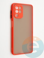 Накладка пластиковая с силиконовой окантовкой с защищенной камерой для Samsung Galaxy A22 4G красная