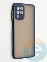 Накладка пластиковая с силиконовой окантовкой с защищенной камерой для Samsung Galaxy A22 4G синяя