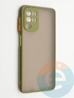 Накладка пластиковая с силиконовой окантовкой с защищенной камерой для Samsung Galaxy A22 4G хаки