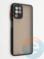 Накладка пластиковая с силиконовой окантовкой с защищенной камерой для Samsung Galaxy A22 4G черная