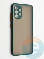 Накладка пластиковая с силиконовой окантовкой с защищенной камерой для Samsung Galaxy A32 зеленая