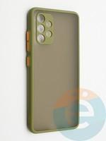 Накладка пластиковая с силиконовой окантовкой с защищенной камерой для Samsung Galaxy A32 хаки
