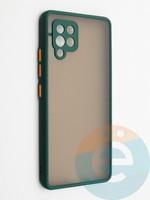 Накладка пластиковая с силиконовой окантовкой с защищенной камерой для Samsung Galaxy A42 зеленая