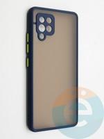 Накладка пластиковая с силиконовой окантовкой с защищенной камерой для Samsung Galaxy A42 синяя