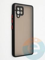 Накладка пластиковая с силиконовой окантовкой с защищенной камерой для Samsung Galaxy A42 черная