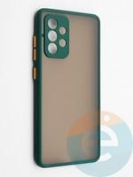 Накладка пластиковая с силиконовой окантовкой с защищенной камерой для Samsung Galaxy A52 зеленая