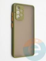 Накладка пластиковая с силиконовой окантовкой с защищенной камерой для Samsung Galaxy A52 хаки