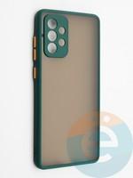 Накладка пластиковая с силиконовой окантовкой с защищенной камерой для Samsung Galaxy A72 зеленая