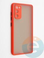 Накладка пластиковая с силиконовой окантовкой с защищенной камерой для Samsung Galaxy S20FE красная