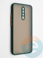 Накладка пластиковая с силиконовой окантовкой с защищенной камерой для Xiaomi Redmi 9 зеленая