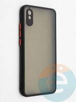 Накладка пластиковая с силиконовой окантовкой с защищенной камерой для Xiaomi Redmi 9A черная