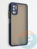 Накладка пластиковая с силиконовой окантовкой с защищенной камерой для Xiaomi Redmi Note 10 5G синяя
