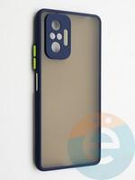 Накладка пластиковая с силиконовой окантовкой с защищенной камерой для Xiaomi Redmi Note 10 Pro 4G синяя