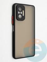 Накладка пластиковая с силиконовой окантовкой с защищенной камерой для Xiaomi Redmi Note 10 Pro 4G черная