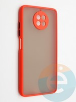 Накладка пластиковая с силиконовой окантовкой с защищенной камерой для Xiaomi Redmi Note 9T красная