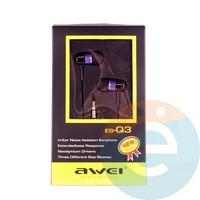 Наушники AWEI ES-Q3 фиолетовые