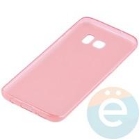 Накладка силиконовая ультра-тонкая на Samsung Galaxy S7 Edge прозрачно-красная