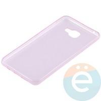 Накладка силиконовая ультратонкая на Samsung Galaxy A7 (2016) SM-A710 прозрачно-розовая