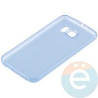 Накладка силиконовая ультратонкая на Samsung Galaxy S6 прозрачно-синия