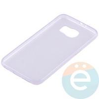 Накладка силиконовая ультратонкая на Samsung Galaxy S6 прозрачно-фиолетовая