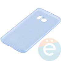 Накладка силиконовая ультратонкая на Samsung Galaxy S6 Edge прозрачно-синия