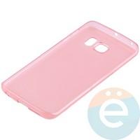 Накладка силиконовая ультратонкая на Samsung Galaxy S6 Edge прозрачно-красная