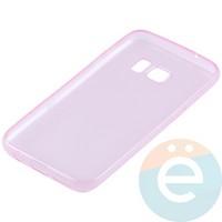 Накладка силиконовая ультратонкая на Samsung Galaxy S7 прозрачно-розовая