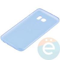 Накладка силиконовая ультратонкая на Samsung Galaxy S7 Edge прозрачно-синия