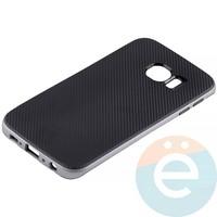 Накладка комбинированная Spigen на Samsung Galaxy S6 Edge серебристая
