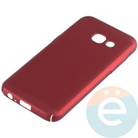 Накладка пластиковая перфорированная на Samsung Galaxy A3 (2017) SM-A320 красная