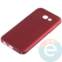 Накладка пластиковая перфорированная на Samsung Galaxy A5 (2017) SM-A520 красная