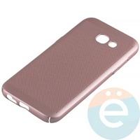 Накладка пластиковая перфорированная на Samsung Galaxy A5 (2017) SM-A520 розовая