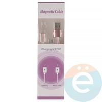 USB кабель на Type-C плетёный магнитный розовый