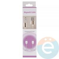 USB кабель на Lightning плетёный магнитный золотистый